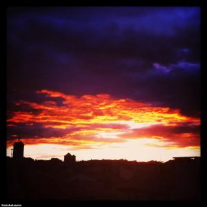 soleil couchant sur le quartier de Bourg